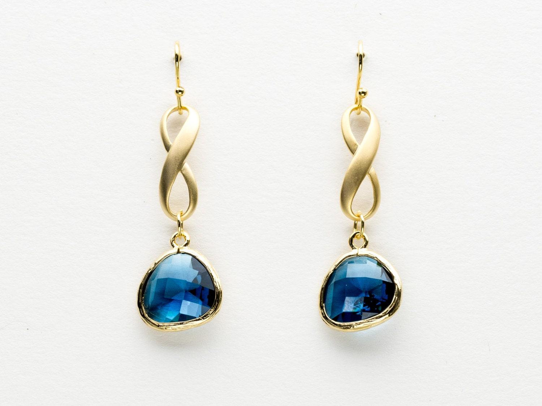 Blue Sapphire Infinity Earrings Drop Earrings Dangle