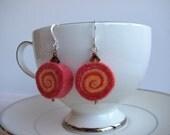 Red orange statement sushi felt wool earrings, swarovski crystal beads, handmade, lightweight felt earrings, silver plated hook, trendy gift