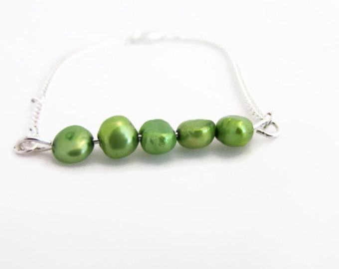 CLEARANCE Green freshwater pearl bar bracelet, handmade in the UK