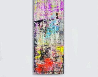 Wall art canvas art large abstract painting huge black and white blue purple yellow orange neon