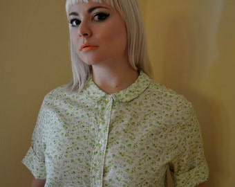 Ditzy Green Floral Button Up with Peter Pan Collar