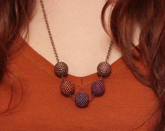 Purple, Brown, and Orange Beaded Bead Necklace