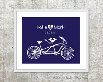 Tandem Bike Wedding Print - Personalized Aniversary Print - Tandem Bike and Birds Poster - Wedding Date Wall Art - Navy Blue