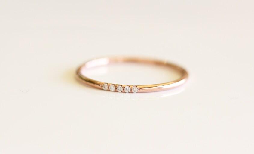 14K Rose Solid Gold Micro Pave Diamond Wedding Band Diamond