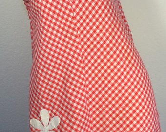 FREE  SHIPPING  1950's Gingham Cotton Day Dress