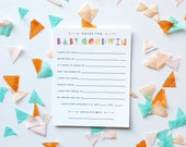 Notes for Baby Card • Gender Neutral Baby Shower Advice Card • Geometric Colorful Modern Baby Wish Card •Customizable Baby Wishes