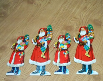 Vintage Embossed Victorian Diecut Paper Santa with Presents Small & Large Paper Scraps Set of 4