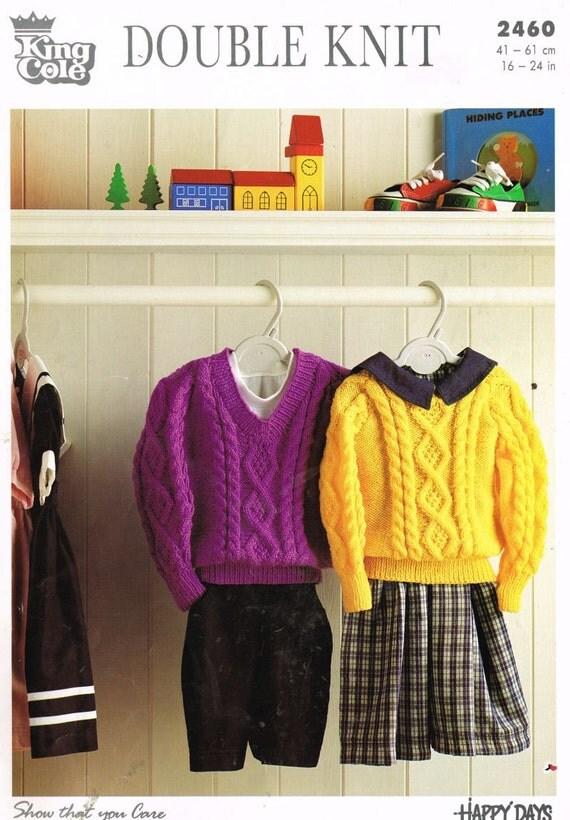 King Cole Knitting Patterns To Download : King Cole 2460 baby aran panel jumper vintage by Ellisadine