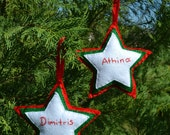 Felt star personalized ornament, Christmas decoration, personalized star