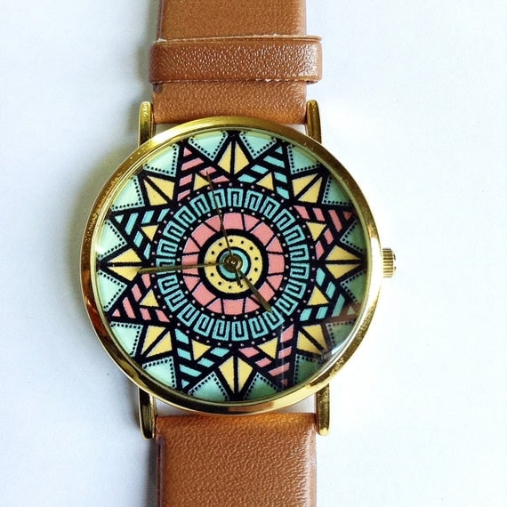 aztec watch vintage style leather watch pastels women. Black Bedroom Furniture Sets. Home Design Ideas