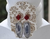 Spoon Earrings with Red Murano Beads
