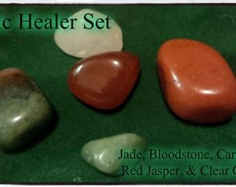 Basic Healer Crystal Set with Handmade Gembag