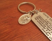 Hand stamped personalized dog tag keychain police/state trooper with badge number & prayer-State trooper gift-State trooper gift-St. Micheal