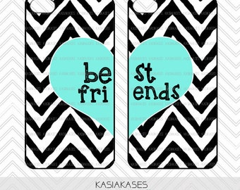 BFF Case / Zebra Chevron iPhone 4 Case Best Friends iPhone 5 Case iPhone 4S Case iPhone 5S Case One For Your BFF Set Phone Cases Great Gift