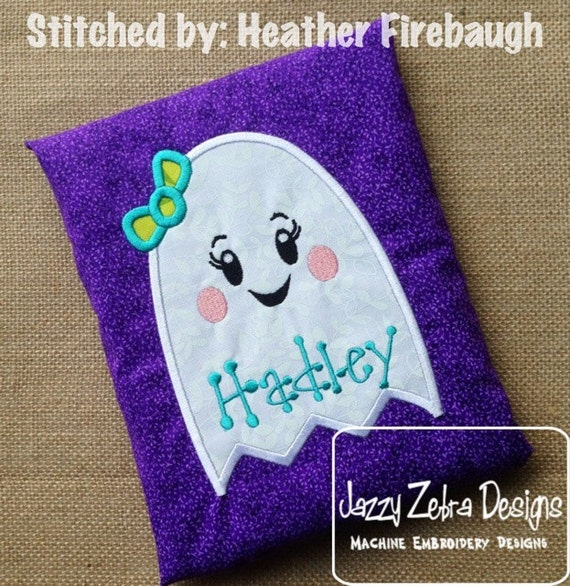 Girl Ghost with bow Appliqué embroidery Design - ghost Appliqué Design - halloween Appliqué Design - girl Applique Design