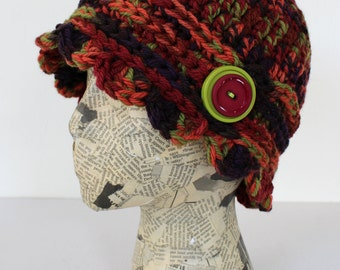 Fall Colored Crocheted Cloche with Scalloped Edge, Wool