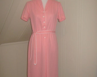 1960s Sherry Lynn Pink Dress sz 6-8 Med  / House Coat