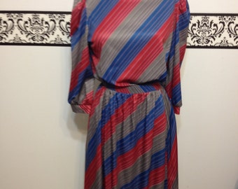 1960's Angular Striped Blouse and Skirt Set, Vintage Hipster, Rockabilly Skirt and Blouse in Fuchsia, Green, and Blue