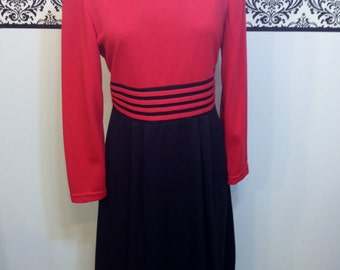 80's does 50's Cherry Red Pin Up Dress by Willow Ridge, Size 10, Vintage Rockabilly Nautical Dress, Honeymoon / Reception / Day Dress