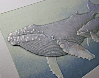 Humpback Whales Card. Whale Card Letterpress. Sealife Card Embossed
