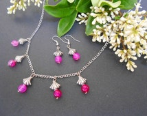 ON SALE. Hot pink agate charm necklace and earrings Item No. TSTA0012