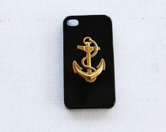 iPhone 4s Anchor Case iPhone 4s Nautical Case iPhone 4 Black Case iPhone 4 Gold Phone Case Cute iPhone 4 4s Case Sailing iPhone 4s Case Gold