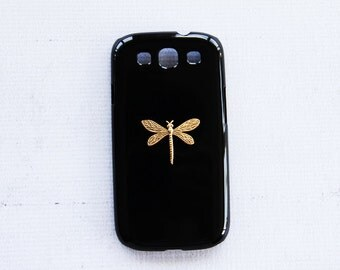Black Samsung Galaxy S3 SIII Phone Case Cell Phone Tough Plastic S4 Cases Dragonfly Insect Bugs Nature Phone Cover Best Samsung S5 S3 Cases