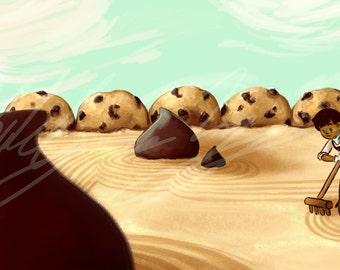 Chocolate Chip Cookie Zen Garden Art Print