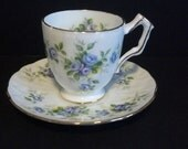 Aynsley England Fine English Bone China Tea Cup & Saucer ~ Marine Rose Pattern ~ Mint Contidition- Used for display only
