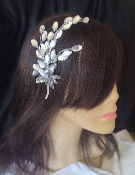 Bridal Headband, Wedding Headband, Bridal Headpiece, , Wedding Tiara. Crystal Leaf Headpiece , Crystal Headband, Tiara -  PANDORA Headband ,