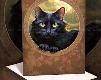 Black Cat Greeting Card // Black Cat Card // Black Cat art print // Cat Stationary // Halloween Cat Blank Card // Fall Autumn Cat