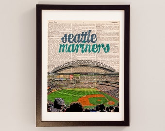 Seattle Mariners Dictionary Art Print - Safeco Field Art - Seattle Washington Print - Print on Vintage Dictionary Paper - Baseball Art
