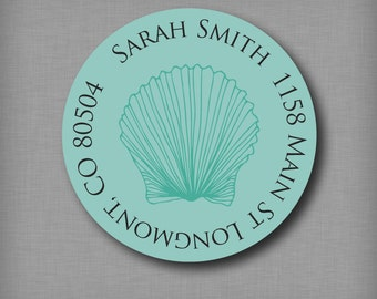 Return Address Labels, Personalized Round Address Stickers, Seashell Beach Shells Label Stickers