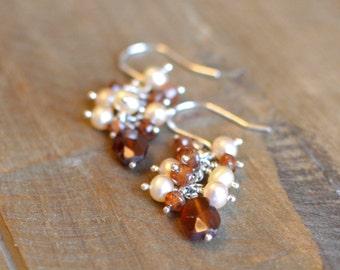 Hessonite Garnet Earrings, Sterling Silver Pearl Earrings, Wedding Jewelry.