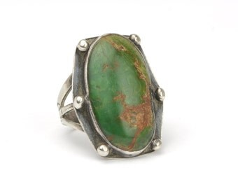 Vintage 1940's Old Pawn Turquoise and Sterling Silver Ring
