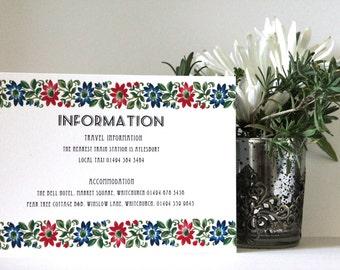 Floral Garland Wedding Information Card