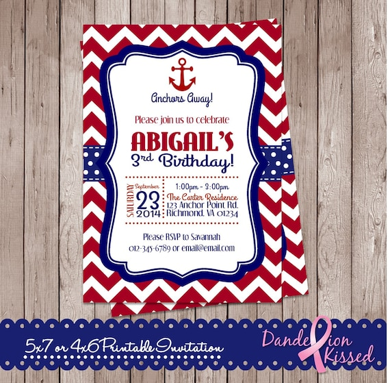 Red Blue Chevron Nautical Anchor Happy Birthday Digital Printable Invitation DIY Personalized Custom