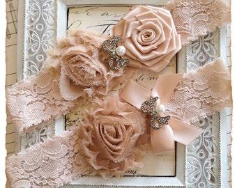 Bridal Garter, Blush Lace Bridal Garter Set, Lace Garter Set, Lace Wedding Garter Set - Blush Lace, White and Blush Pink Flowers