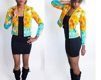 Vintage 1980's Floral Orange and Blue Blazer / Funky / Cropped / Bright Colors / Harve Benard / Cotton / Spandex / Size 4P