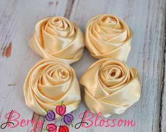 "Champagne Satin Rosette - 2"" inch size - satin rose flowers - rolled soft rosette - Champange color - Set of 4 pieces"