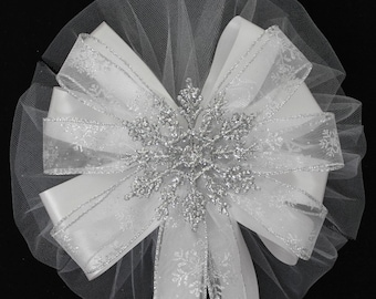 Silver Glitter Snowflake Wedding Pew Bows Church Aisle Ceremony Decorations