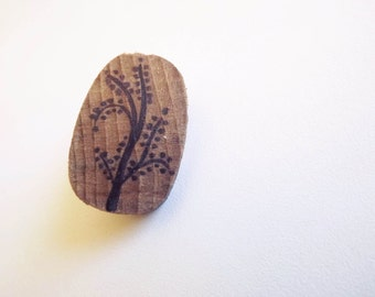 Wood Brooch - floral decoration - made from the handle of a hammer and hand-painted