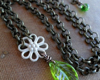 Energy Charged Green Peridot Olivine Leaf & White flower Chain Necklace