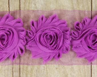 "Rosettes ""Bright Violet"" Shabby Chiffon Flower -  shabby chiffon flower trim, shabby chiffon rose trim, shabby rosette trim diy headband"