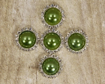 Kiwi Green Rhinestone Pearl Buttons-5 Kiwi Green Buttons With Brilliant Clear Surrounding Rhinestones 21mm
