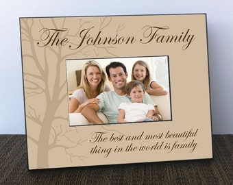 Personalized Picture Frame Family Established in Brown with Tree - Family Picture Frame