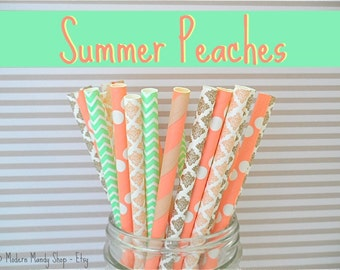 Peach, Coral, Mint, & Gold Mixed Paper Straws (Summer Peaches - Pack of 25 or 50) **Weddings, Parties, Showers, Gifts**