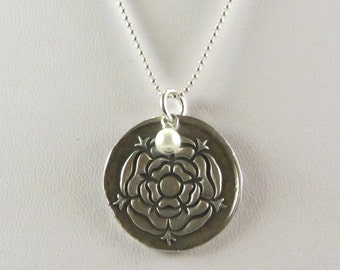 Fine Silver Tudor Rose Pendant with Glass Pearl Charm