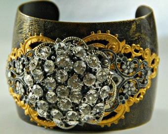 Etched cuff bracelet with vintage embellishements