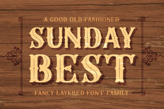 Sunday Best Complete Layered Font Family Rustic Elegance